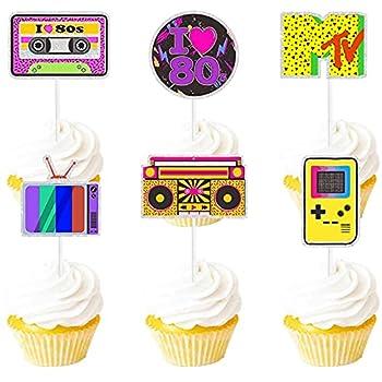 Dessert Cupcake Topper Purple Glitter Retro Throwback Girly 80's Decade Theme Decorations Happy Birthday Party Decor Supplies 18pcs