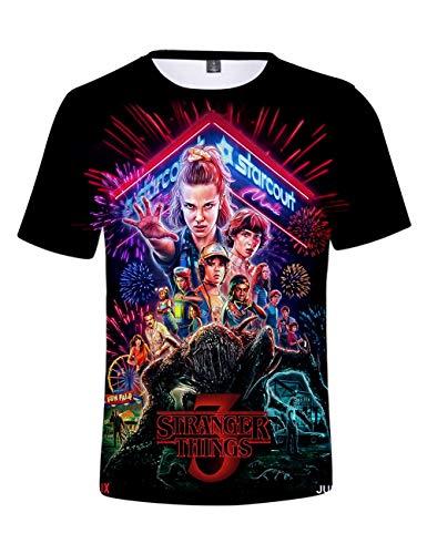Camiseta Stranger Things Niño, Camiseta Stranger Things Mujer Unisex Impresión 3D Manga Corta T Shirt Hombre Abecedario Impresión T-Shirt Niña Camisa de Verano Regalo Camisetas y Tops (C,S)