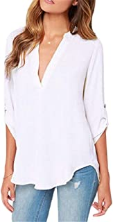 Women's Chiffon Blouses Solid Loose Shirt Casual V Neck Pullover Top