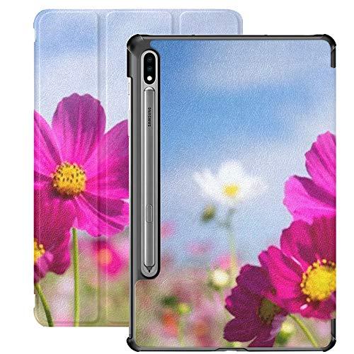 Estuche para Samsung Galaxy Tab S7 de 11 Pulgadas 2020, Cosmos Field Full Bloom Estuche Delgado de Tres Pliegues con activación/suspensión automática para el Modelo de Lanzamiento 2020 SM-T870 SM-T