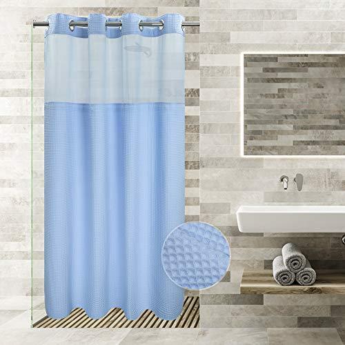 Duschvorhang in Hotelqualität, kein Haken nötig, mit Einrast-Futter, wasserabweisend, maschinenwaschbar (himmelblau, 137,2 x 203,2 cm (Stall/Liner)