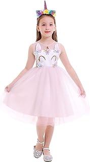 1890d016806f3 IBTOM CASTLE Enfant Fille Déguisement Licorne Robe Florale Princesse Tutu  Jupe Canaval Costume de Photographie Cérémonie