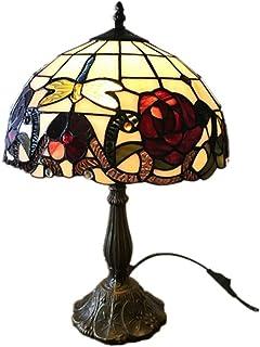 JEONSWOD Lampe de table créative européenne, rétro verre teinté + zinc alliage chambre salon base de lampe de chevet