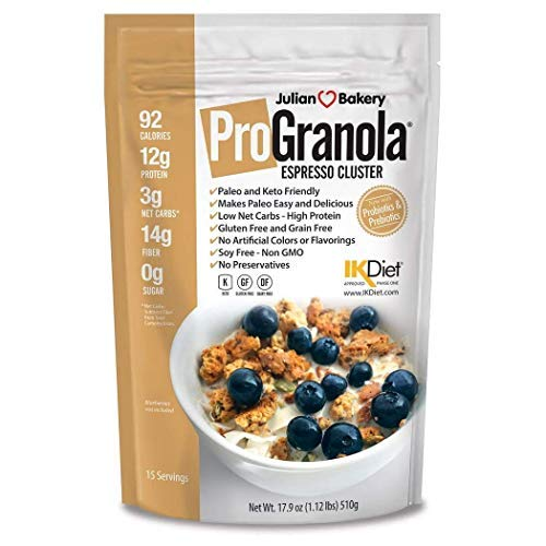 Julian Bakery ProGranola | Espresso | 12g Protein | Paleo | 3 Net Carbs | Gluten-Free | Grain-Free | 15 Servings
