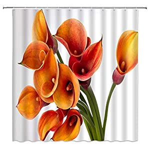 BCNEW Calla Lily Shower Curtain Decor Orange Flower Spring Creative Floral Plant Country Garden Decorative Polyester Fabric Machine Washable with Hooks 70×70 Inches