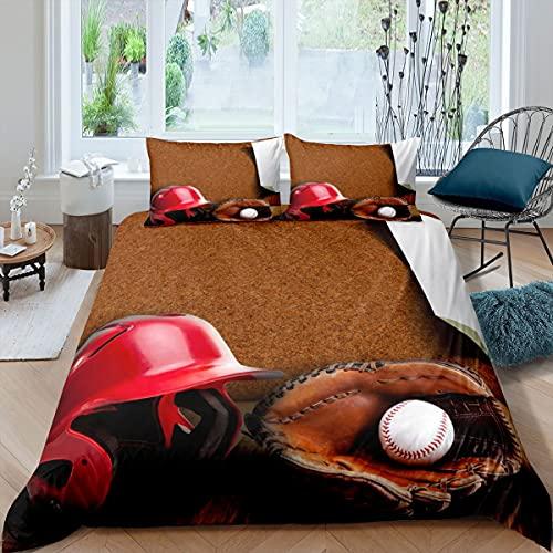 Juego de ropa de cama de béisbol para niños y niñas, equipo de pelota 3D ropa de cama y lino ultra suave cubierta de la colcha de la competencia marrón Super King cremallera
