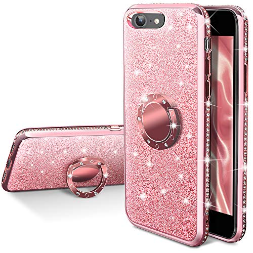 iPhone 6S Plus Case, iPhone 6 Plus Case, Silverback Girls Women Bling Glitter Case with Ring Kickstand,Luxury Diamond Bumper Slim Girly Protective Cover for Apple iPhone 6S / 6 Plus -Rose Gold