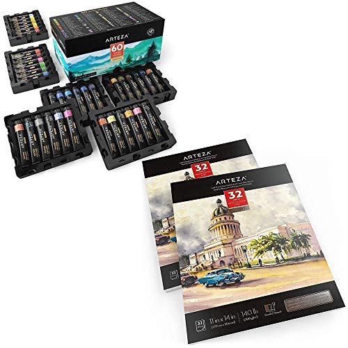 Arteza Watercolor Paint Set and Empty Watercolor Palette Tin Bundle for Watercolor Painting, Painting Art Supplies for Artist, Hobby Painters & Beginners