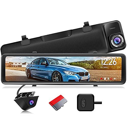 "PORMIDO 2.5K Mirror Dash Cam Backup Camera 12"" Large Full Touch Screen Front and Rear View Camera HD Waterproof Back up Car Camera 170° Wide Angle,GPS,Starlight Night Vision,Parking Monitor,SD Card"