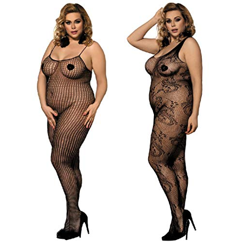 LOVELYBOBO 2 Pack Womens Plus Size Fishnet Bodystockings Striped Lingerie Crotchless Bodysuits Tights Suspenders Black