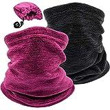 2 Pack Winter Neck Warmer Gaiter Ski Fleece Warm Windproof Face Scarf Cover Mask for Snowboard (2pcs Black+Purple)