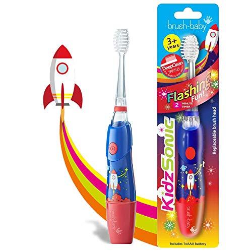 Brush Baby KidzSonic Brosse à dents électrique pour tout-petits et enfants de 3 ans et plus - Rocket