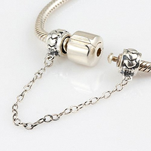 Hoobeads Love Heart Solid Sterling Silver Screw Threaded Safety Chain Charm for European Style Bracelet