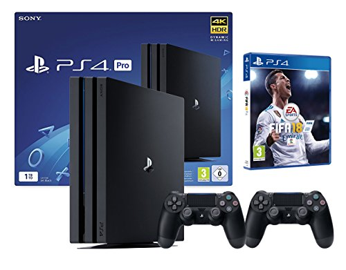 PS4 Pro 2 Manette + FIFA 18 (1To, Noir, 2X Dualshock V2)
