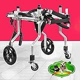 Silla de Ruedas de Apoyo Trasero Arnés de Movilidad para Perros Coche de Ejercicio de piernas traseras 4 Ruedas Ligeras Cochecitos de Perros para Gato Gato paralítico herido