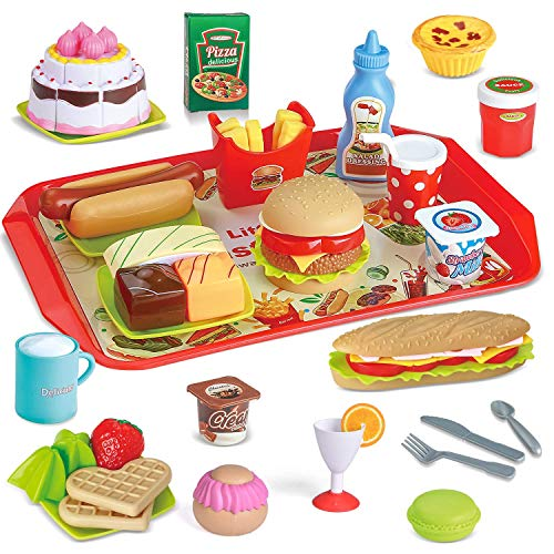 FUN LITTLE TOYS 49 PCs Play Food for Kids Kitchen, Toy Foods with Cutting Fruits, Cake and Fast Food for Pretend Play, Play Kitchen Accessories