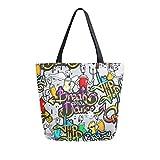 Ahomy Bolso grande de lona para mujer, reutilizable, bolso de mano, bolso de compras, bolso de compras