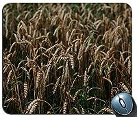 茶色の麦畑のクローズアップ写真パーソナライズされた長方形のマウスパッド、印刷された滑り止めゴム快適なカスタマイズされたコンピューターマウスパッドマウスマットマウスパッド