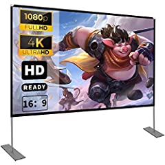 【Projection Screen】 - 100 inch 16:9 HD 4K screen, 16:9 Ratio, 160° Wide Viewing Angle, the movie screen is designed for providing sharp and high-resolution images, enriched colors and supreme watching experience from different viewing position. 【Expr...