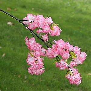 Zuolaijf Artificial Flowers 6pcs Fake Cherry Blossom Flower Branch Begonia Sakura Tree Stem for Event Wedding Tree Deco Artificial Decorative Flowers