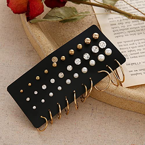 FEARRIN Pendientes Vintage Retro Gold Pendientes de Mujer Pendientes de Perlas para Mujer Joyería Bohemia Pendientes de botón de corazón de Cristal geométrico H81-ZL1162-1