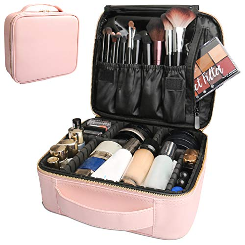 Bvser Travel Makeup Case, PU Leather Portable Organizer Makeup Train Case Makeup Bag Cosmetic Case with Adjustable Dividers for Cosmetics Makeup Brushes Women (Pink)