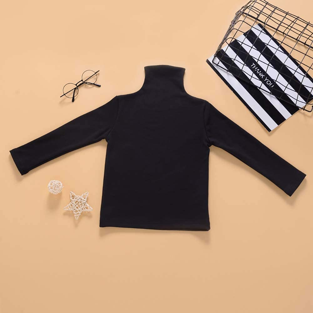 Grace business Toddler Baby Girls Solid Color High Neck Tank Tops Long Sleeve Coat Casual Loose Knitwear T Shirts
