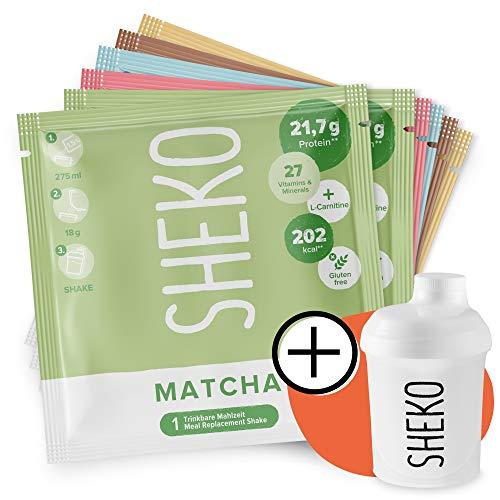 SHEKO Probierpaket (6 Sachets) mit Shaker | Eiweißpulver Probierset zum Abnehmen | Auch als Proteinshake oder als Mahlzeitersatz Shake
