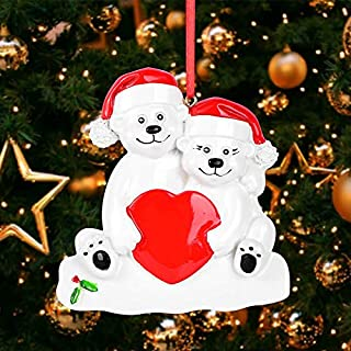 SMYER Polar Bear Family Personalize Christmas Ornament, Free Pen Included with Gift Box, Made of Resin(Couple)