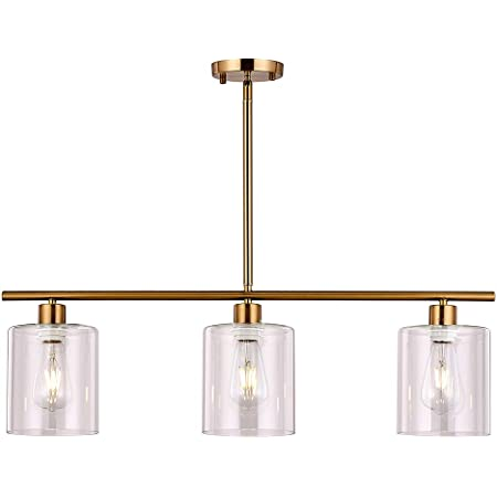 Xilicon Kitchen Island Lighting Chandelier Light Fixture For Dining Room Hanging Brushed Brass 3 Light Pendant Light Contemporary With Glass Shade For Living Dining Room Bedroom