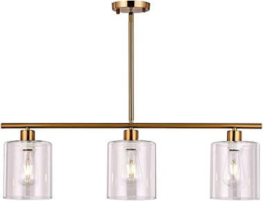 XILICON Kitchen Island Lighting Chandelier Light Fixture for Dining Room Hanging Brushed Brass 3 Light Pendant Light Contempo
