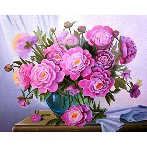 Pintura por números, flores azules, paisaje de floración, pintura DIY por número, lienzo para niños y adultos, regalo, decoración moderna para el hogar A18, 40x50cm