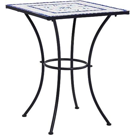 Casaria Tavolo da Giardino Rotondo /Ø60cm polyrattan tavolino da Balcone mobili da Esterno terrazza Bar Nero