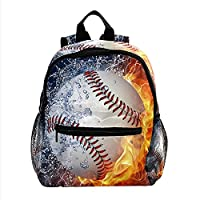 ガールズボーイズブックバッグ用バックパック多目的デイパックアウトドアトラベルバッグ野球バーレーンの火と水 サイズポケット付き
