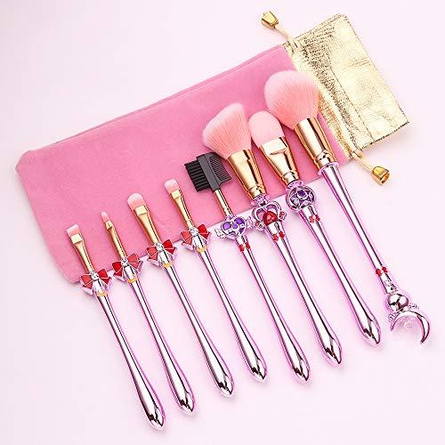 OEFHEIOWJO Nouveaux 8pcs Pro pinceaux de maquillage Sets Sailor Moon cheveux doux fard à joues Ombre à paupières Correcteur Fondation cosmétiques for les lèvres outil Pinceau