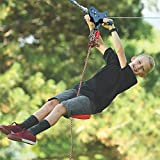 Lovinouse 100 Foot Zip Line Kit, Up to 400 Lb, with Spring Brake, 304 Stainless Steel Cable, Zipline for Backyard, Playground, Outdoor Toys for Kids (Red)