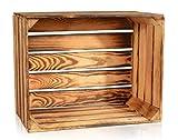 CHICCIE Geflammte Obstkisten - Einzelkiste 50 x 40 x 30cm Holzkisten Weinkisten Holz Kisten Apfelkisten Obstkiste Gebrannt