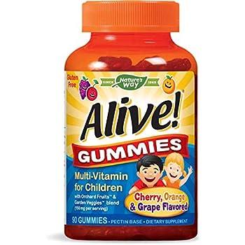 Nature's Way Alive! Children's Premium Gummy Multivitamin, Fruit and Veggie Blend (150mg per Serving), Gluten Free, Made with Pectin, 90 Gummies, Pack of 2