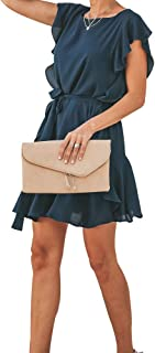 Joteisy Women's Ruffle Sleeve Tie Waist Ruffle Hem Short Sleeve Casual Mini Dress