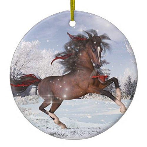 Dant454ty Adornos de Navidad con diseño de Caballo árabe de cerámica para árbol de Navidad, niñas y Mujeres