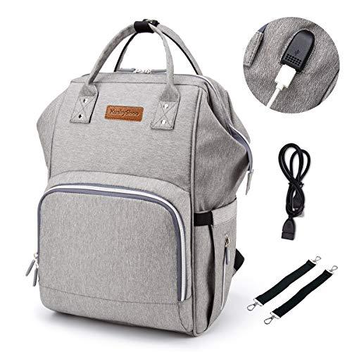 KushyShoo Baby Wickelrucksack Wickeltasche, Multifunktional Groß Babytasche Reiserucksack für Unterwegs(Grau)