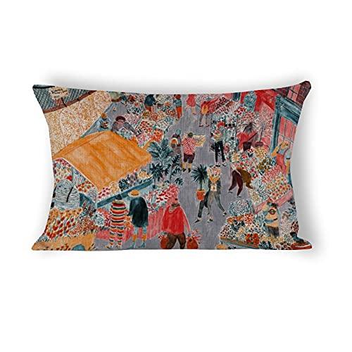 Funda de almohada de 50,8 x 76,2 cm, Columbia Road Flower Market Decorativa de lino y algodón, para sofá, ropa de cama, coche y decoración del hogar