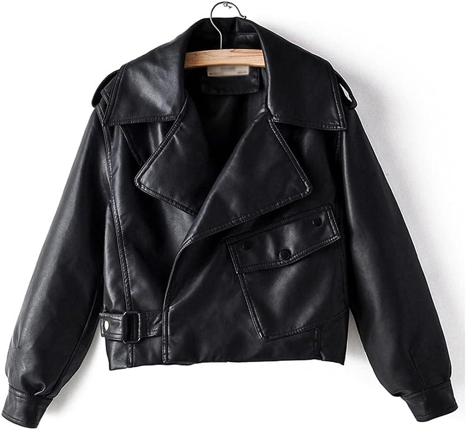 ZSQAW Autumn Women Faux Leather Jacket Pu Motorcycle Biker Red Coat Turndown Collar Loose Streetwear Black Punk Outerwear (Color : Black, Size : L Code)