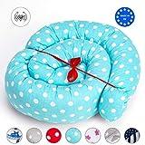 Tour de lit bebe Coussin Serpent Bébé - contour de lit, pour fille et les garçon, coussin respirant 100% coton (Bleu ciel avec pots blancs, 180 cm)