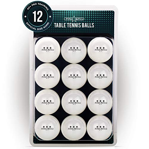 PRO SPIN Ping Pong Balls - 3-Star White Table Tennis Balls - Premium 40+ Training Balls for Indoor/Outdoor Competitions & Games (Pack of 12)