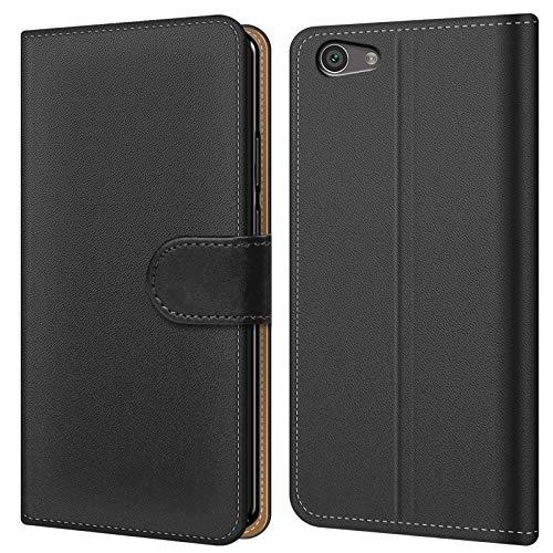 Conie BW41967 Basic Wallet Kompatibel mit Sony Xperia Z5 Compact, Booklet PU Leder Hülle Tasche mit Kartenfächer & Aufstellfunktion für Xperia Z5 Compact Hülle Schwarz
