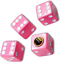 """(4 Count) Cool & Custom """"Cube Playing Dice"""" Tire Wheel Air Valve Stem Cap Seal Made of Rubber {Pink & White Colors - Metal Internal Threads for Easy Application - Rust Proof - Fits For Most Cars}"""