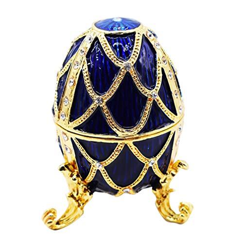 EXCEART Caja de Baratija de Joyería con Bisagras Cristal Brillante Titular de Baratija de Forma de Huevo de Pascua Pequeño Organizador de Anillo de Joyería para Decoración Del Hogar