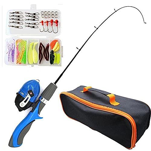 PAKEY Kids Fishing Rod Telescopic Portable Fishing Pole Set with Bait Spinning Reel Hooks for Children Beginners Blue 4pcs
