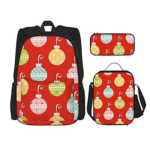 Regreso a la escuela Suministros de Navidad Ornamento Bolas Estudiantes 3 en 1 Mochila de la escuela Set de mochila ligera /bolsa de almuerzo/estuche de lápices para niñas